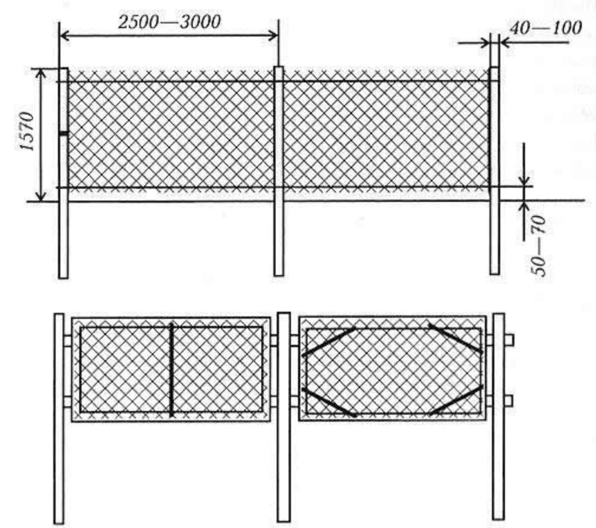 Как сделать забор из рабицы секционные