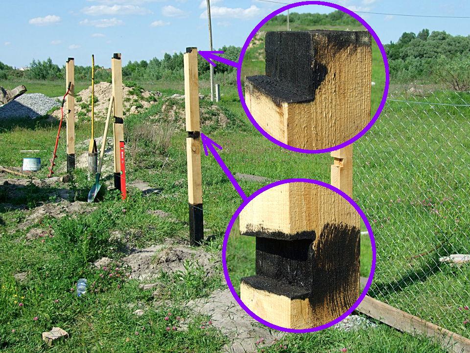 Как защитить деревянные столбы от гниения. Деревянный 86