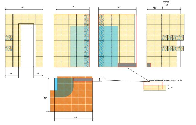 Схема укладки кафеля в ванной