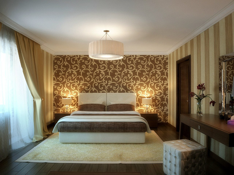 Дизайн спальни фото с обоями