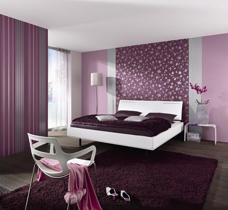 Дизайн спальни обои комбинированные фото